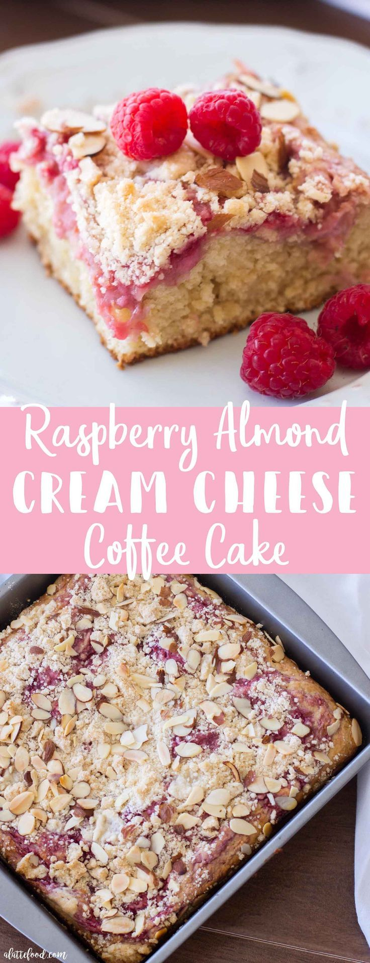 Raspberry Almond Cream Cheese Coffee Cake is the sweetest breakfast treat! This easy raspberry coffee cake recipe is swirled with raspberries and cream cheese, has a sweet crumb topping, and is sprinkled with sliced almonds! A classic coffee cake recipe jazzed up with a raspberry cheesecake filling!