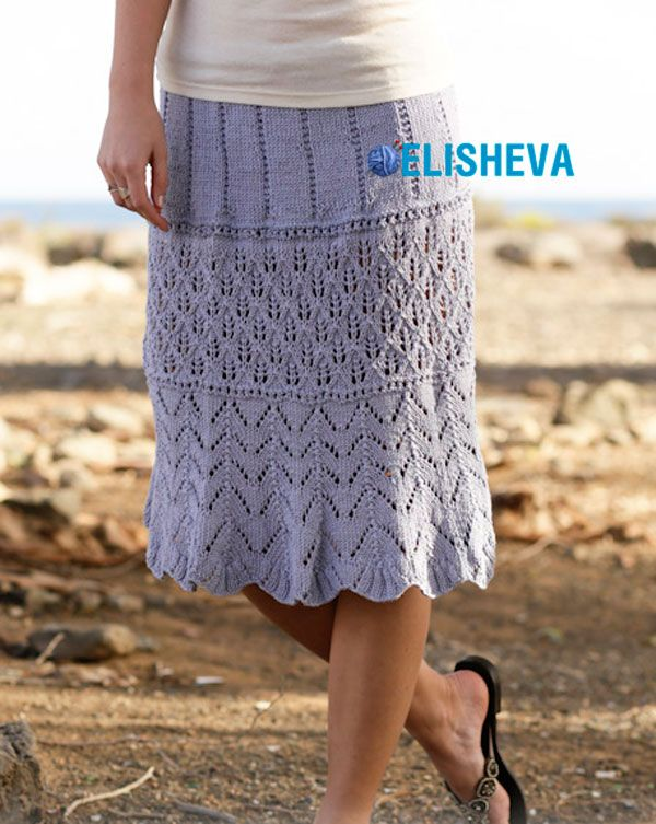 "Весенне-летняя юбка ""Spring Break"" от Drops Design, вязаная спицами | Блог elisheva.ru"