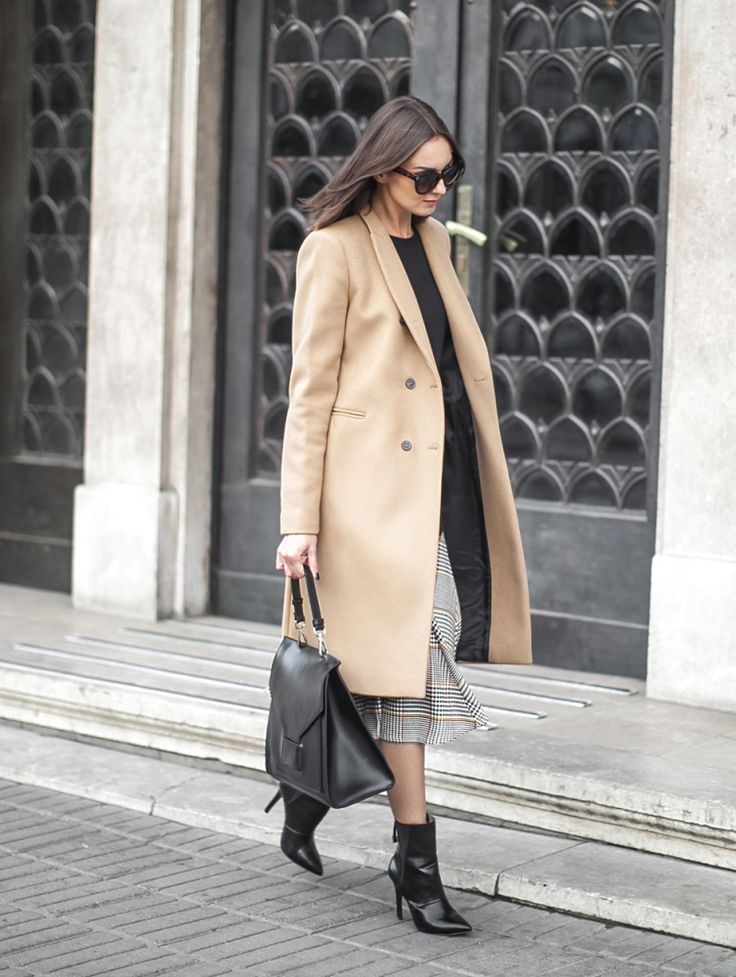 structured camel coat with classic outfit