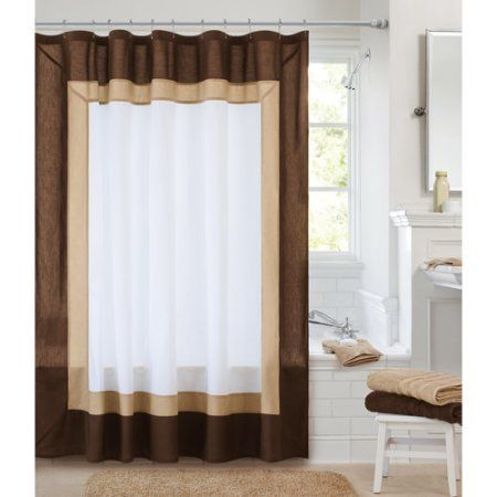 Canopy Classic Hotel Shower Curtain, Rich Brown/Clay Beige/Arctic White