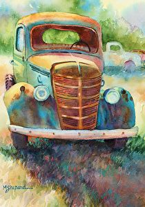 """FORGOTTEN  OLD TRUCK by Mary Shepard Watercolor ~ image size: 12"""" x 10"""" unframed"""