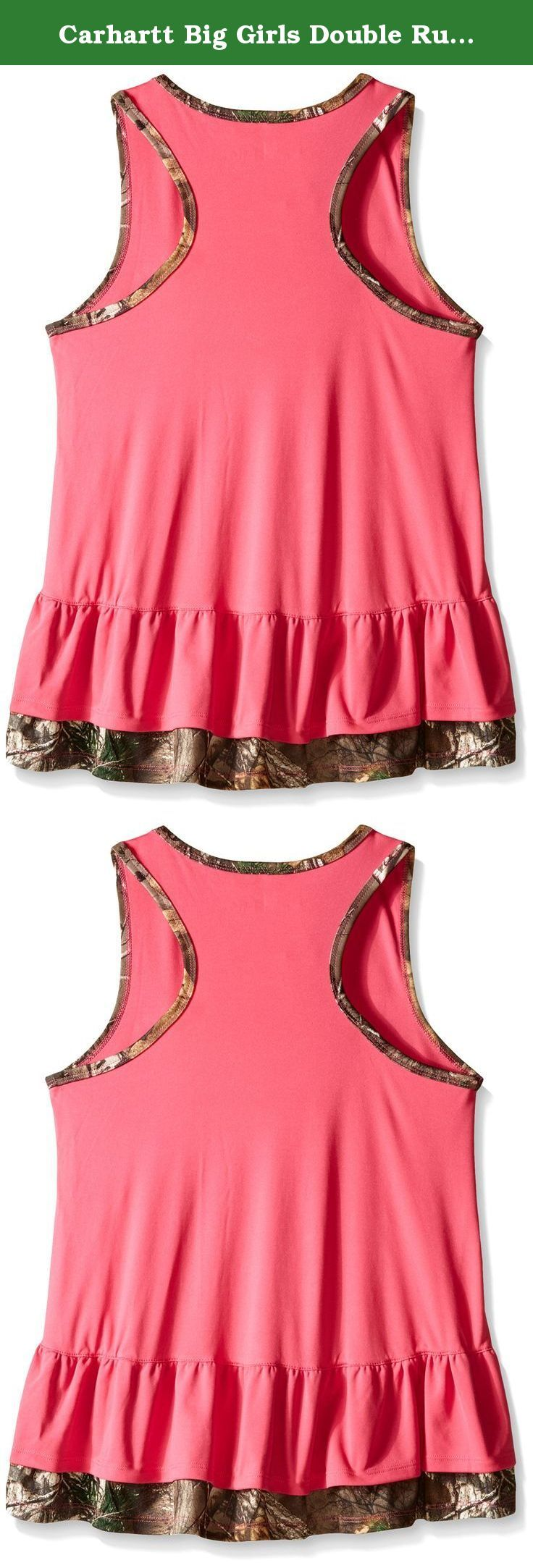 Carhartt Big Girls Double Ruffle Tank, Fandango Pink, 10. Tank with double ruffle hem and contrast realtree xtra binding at neck and armholes.