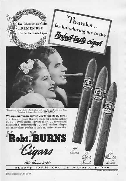 Robt Burns Cigar: Burning Cigars, Cigars Ads, Cigars Advertisements, Vintage Cigars