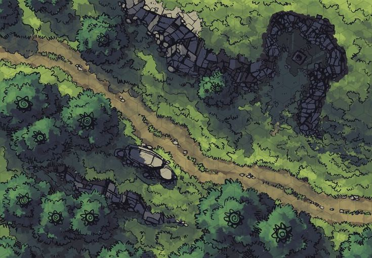 The Hillside Altar, a FREE battle map for D&D / Dungeons & Dragons, Pathfinder, Warhammer and other table top RPGs. Tags: altar, encounter, forest, hill, mountain, path, road, shrine, travel, wilderness, woods