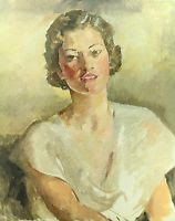 """This Oil Painting is by May Bartlett Fairchild (American 1872-1959) """"Portrait of a Beauty"""" is in the Great Room of El Portal Sedona Hotel."""