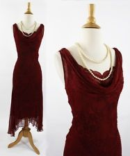 VINTAGE 1920s 30s Style Red Sheer Beaded Flapper Great Gatsby PartyDress 10 M.