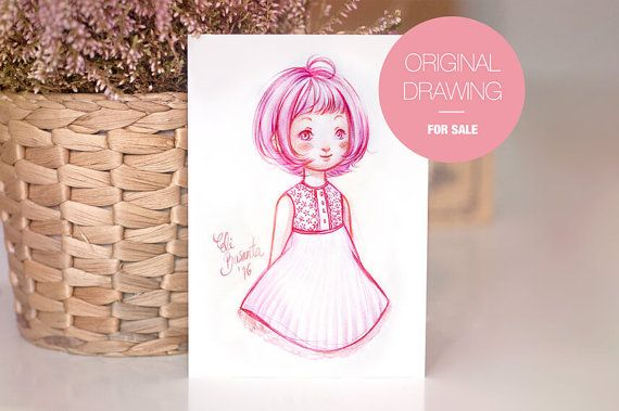 PINKY  Dibujo Original  Ilustración a acuarela. Obra única por lely