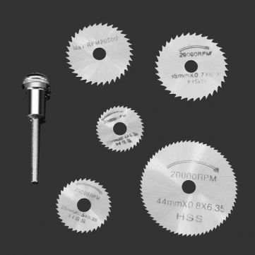 6pc HSS Circular Saw Blade Set For Metal & Dremel Rotary Tools