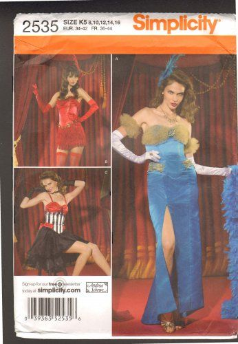 *SOLD 6/30/14* Featured in this listing, is out of print Misses'costume pattern Simplicity 2535, designed by Andrea Schewe. The pattern features three costume options. Option A, boned bodice and skirt with arm bands; option B, optional strapped, boned bodice with short skirt with fringe trimming; option C, strapped, boned bodice with skirt with flounce overlay. Misses' sizes 8-16 (EUR 34-42) are included in this pattern.