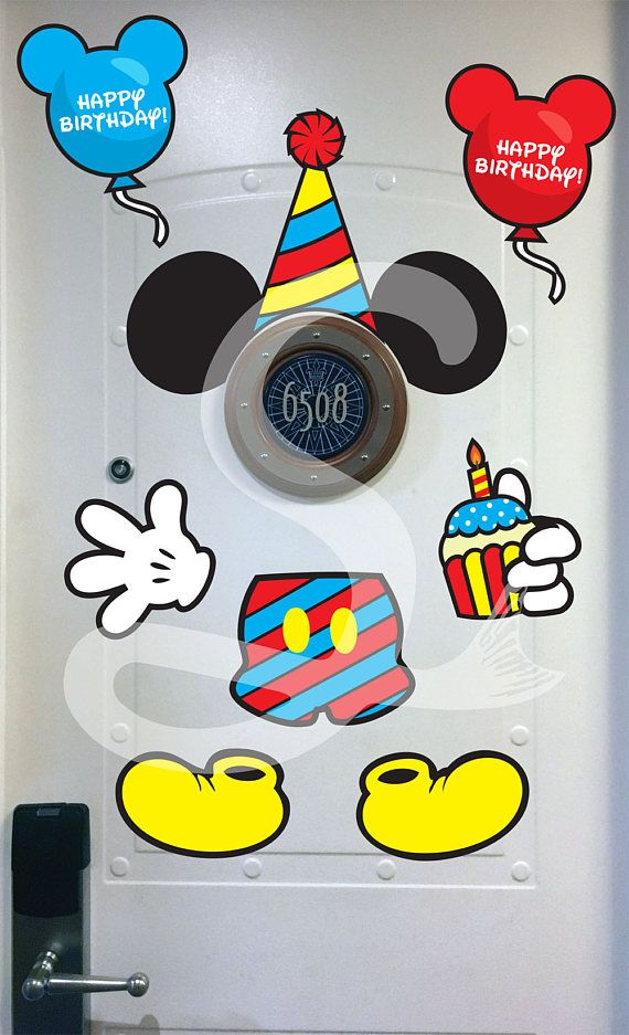 Disney Cruise Door Mickey Mouse Birthday Body Magnet - DIY Printable - Perfect for Disney Cruise Stateroom Door. Instant Download.