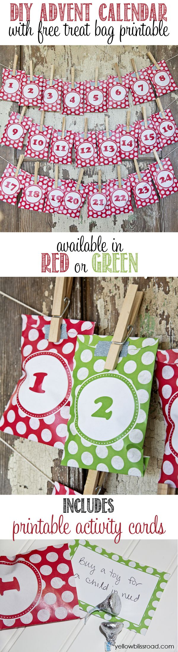 DIY Advent Calendar with free treat bag printables - Comes in red and green and includes advent activity cards!
