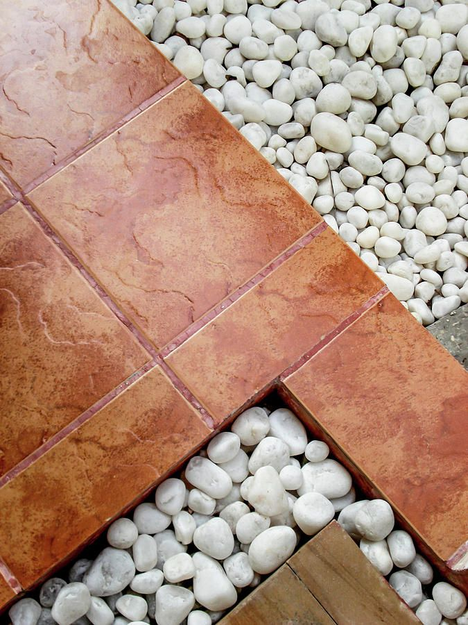 Pebbles and Paving Tiles Geometric Abstract by Jenny Rainbow.   Landscaping combination of white pebbles and brown paving tiles.  Abstract art for home decor. Available as framed, metal, acrylic prints and canvas  #JennyRainbowFineArtPhotography