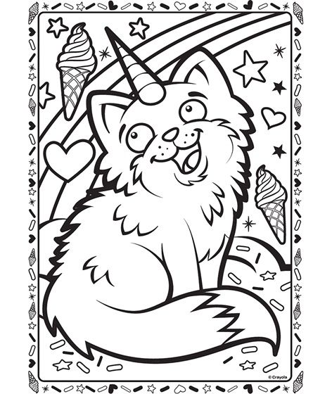 Uni-Kitty | 2 | Pinterest | Colouring pages, Free coloring pages and ...