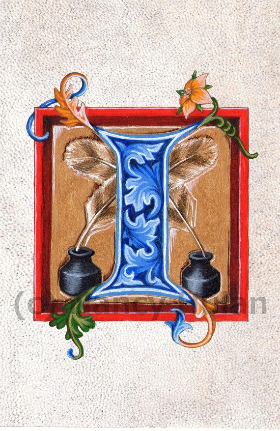Alphabet Letter I, Medieval Illuminated Letter I, Painted Initial I, Medieval Alphabet, Alphabet Art Print