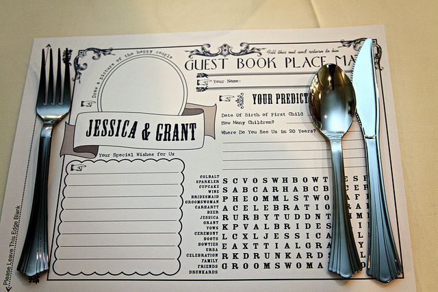 DIY wedding place mat that doubles as guest book and entertainment while they wait! from Offbeat Bride