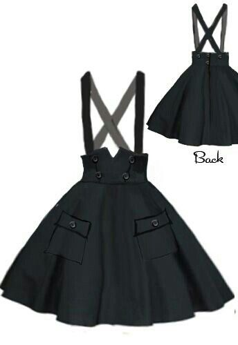 This gorgeous and simple black overall skirt is absolutely perfect, feels like Wednesday Adams attire!