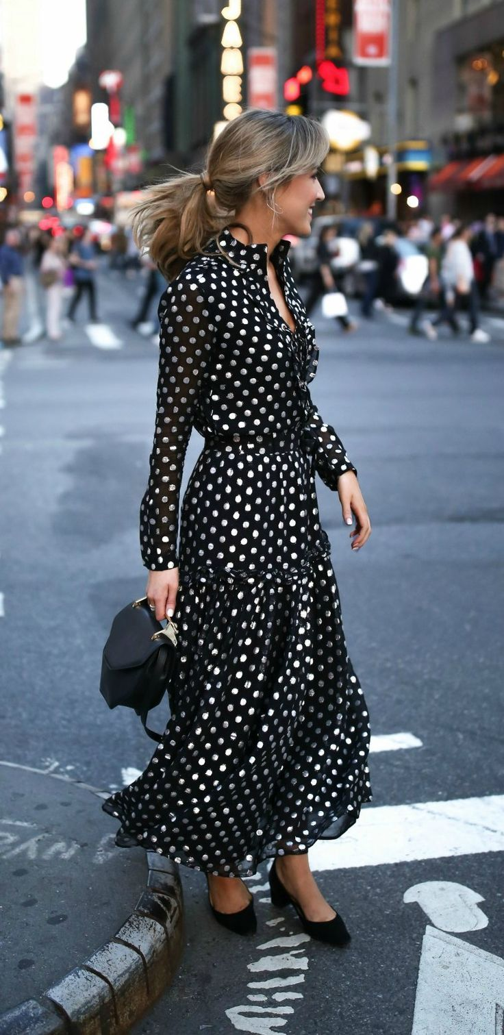 What to wear to a broadway show // Metallic black and silver polka dot lace up maxi dress with black kitten block heel ankle strap sandals {dodo bar or, sam edelman, m2malletier, argento vivo}