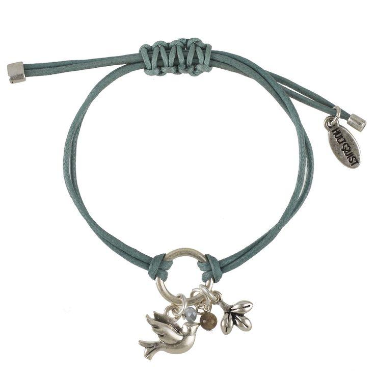 TREE OF LIFE BRACELET Mineral blue macrame' cord bracelet featuring love bird charm, silver pod charm, grey stone & glass pearls www.visora.com.au