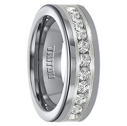 1 cwt diamond unique mens wedding bands in silvertungsten a308c - Exotic Wedding Rings
