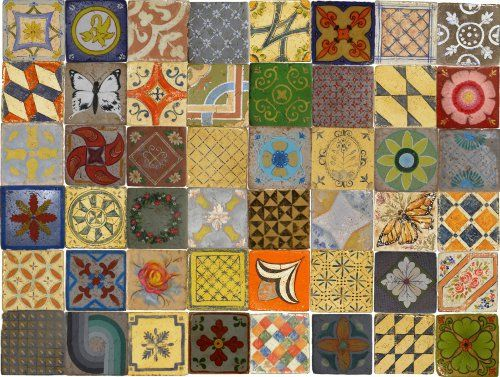 handmade tiles 9,6x9,6cm.