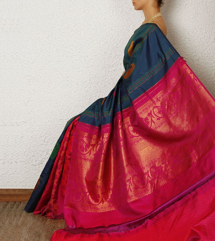 Blue and Pink Kanjivaram Saree with Zari work-- WOOOW!!