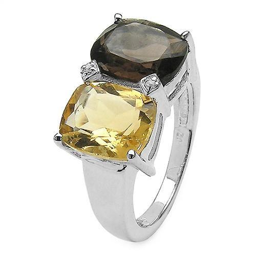 Smoky Topaz, Citrine, & White Sapphire Sterling Silver Ring Size 7