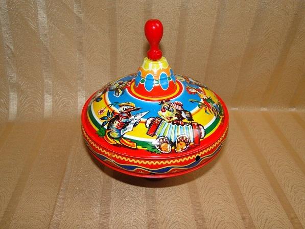 Stare zabawki PIĘKNY METALOWY BĄK-bączek do zabawy