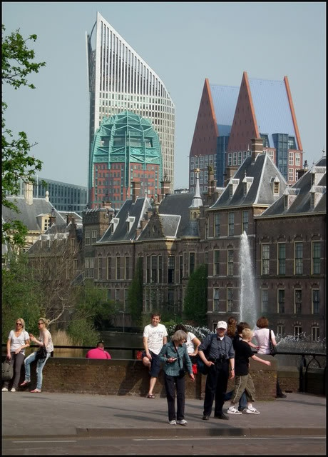 View on the Hofvijver with the old architectural government buildings and modern architecture on the background. Just around the corner.