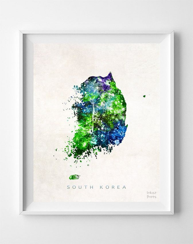 South Korea Watercolor Map Print