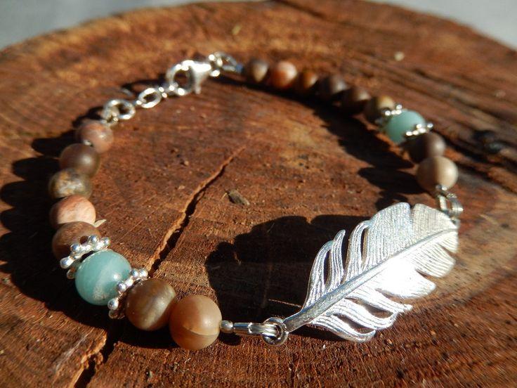 Armband Bracelet Indiana Style mit Feder versteinertes Holz Amazonit Silber Harmonie Natur von DeinCharme auf Etsy