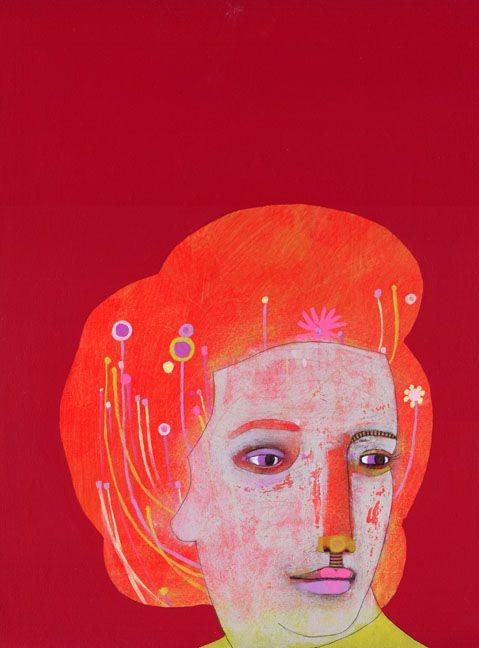 "jennifer davis - hairdo   acrylic/charcoal/graphite on panel   12x16"": Face, Red, Illustration, Artist, Jennifer Davis, Paintings"
