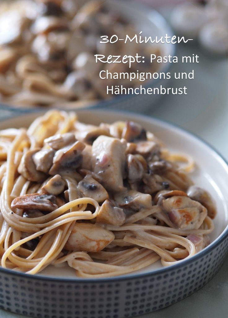 30-Minuten-Rezept: Pasta mit Champignons und Hähnchenbrust   Rezept gibt's auf: www.sarahs-greenfield.blogspot.com