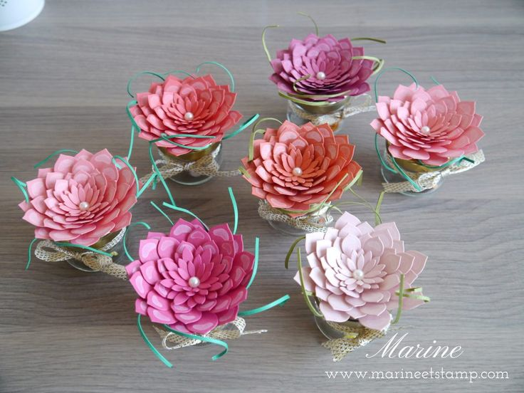 Petits pots de confiture détournés en cadeau pour mes clientes et décorés avec les Framelits Plante grasse et le nouveau set de tampons Si Succulent !