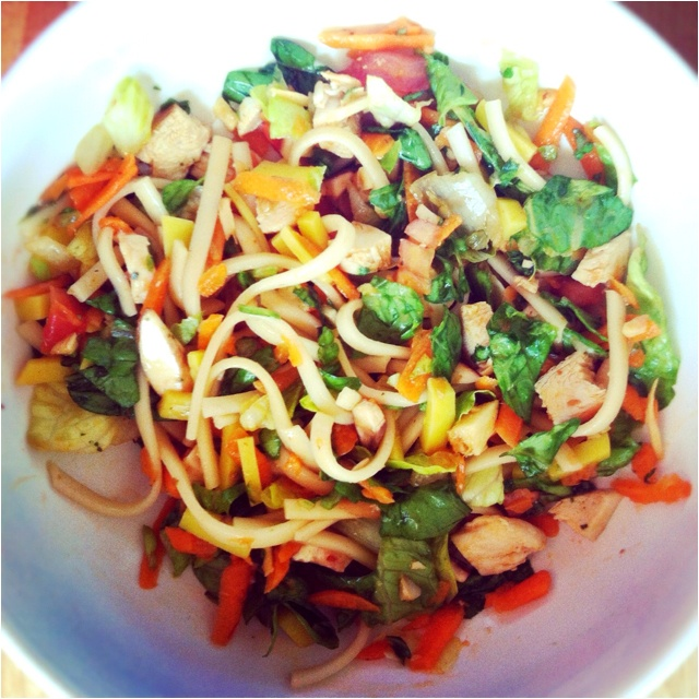 , mushrooms, carrots, pickled mango, grilled chicken, udon noodles ...
