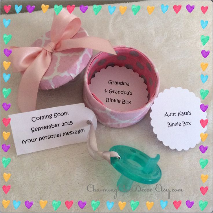 Cute Binkie Box Pregnancy Announcement This adorable, sweet gift from baby-to-be is a fun, unique way to reveal your pregnancy to grandparents, aunts, family, and friends. Shop CharmingChicDecor.etsy.com for this and other personalized baby mementos!