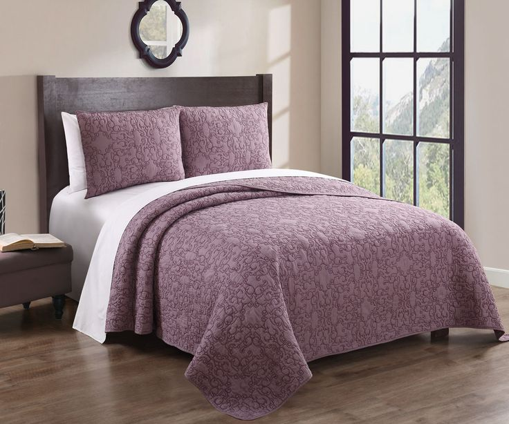 Gieselle Gray 100% Cotton Embroidered Quilt Set Queen