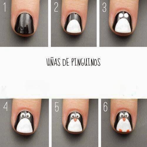 hoy te enseamos como decorar uas con un diseo muy original uas de pinguinos
