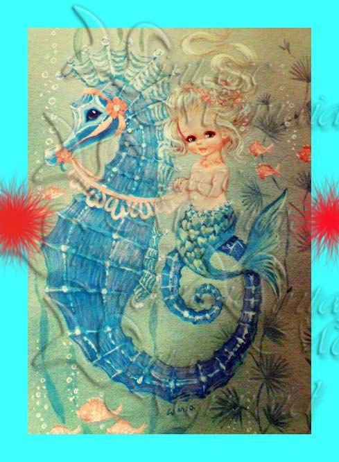 Hey, I found this really awesome Etsy listing at https://www.etsy.com/listing/103733867/mb12-vintage-mermaid-fabric-1950s-retro