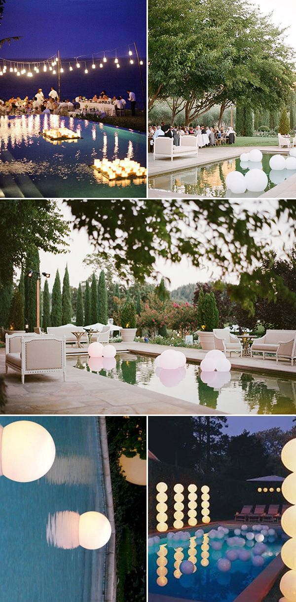 romantic wedding reception ideas with swimming pool string lights and lanterns
