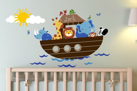 Children Wall Decal Noah's Ark with personalized name by Zapoart, $129.00