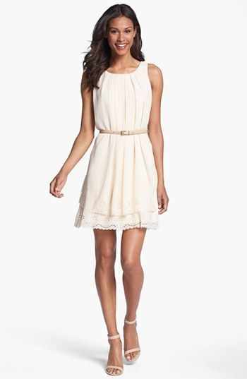 Jessica Simpson Tiered Eyelet Crêpe de Chine Dress