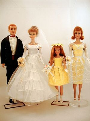 Barbie attends wedding-these clothes were my ultimate wish. I only got a wedding dress from a send-away catalog and it was a treasure.  still have it!