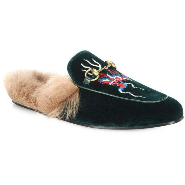Gucci Velvet Shearling Princetown Slippers ($995) ❤ liked on Polyvore featuring men's fashion, men's shoes, men's slippers, mens velvet slip on shoes, mens slip on slippers, mens fur lined shoes, mens leather soled slippers and gucci mens shoes