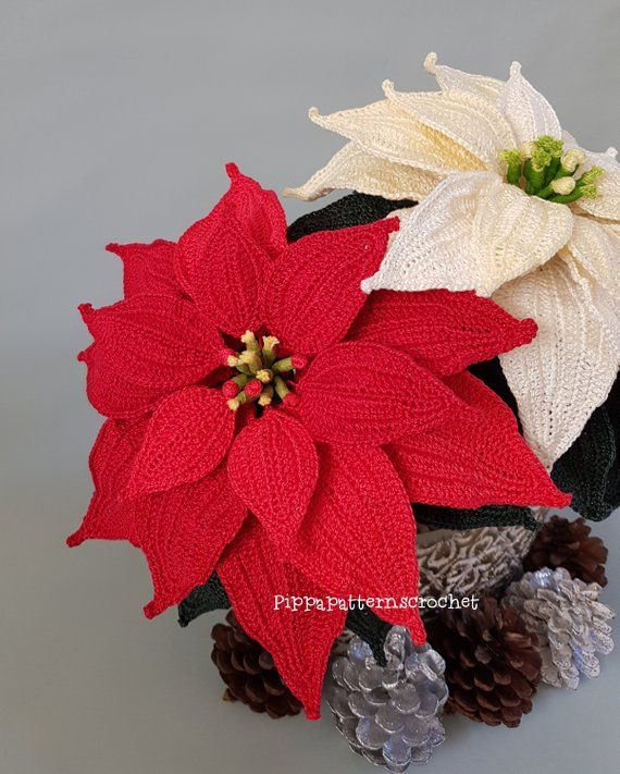 Crochet Christmas Poinsettia Pattern Photo Tutorial Etsy In 2020 Christmas Crochet Crochet Flowers Crochet Flower Patterns