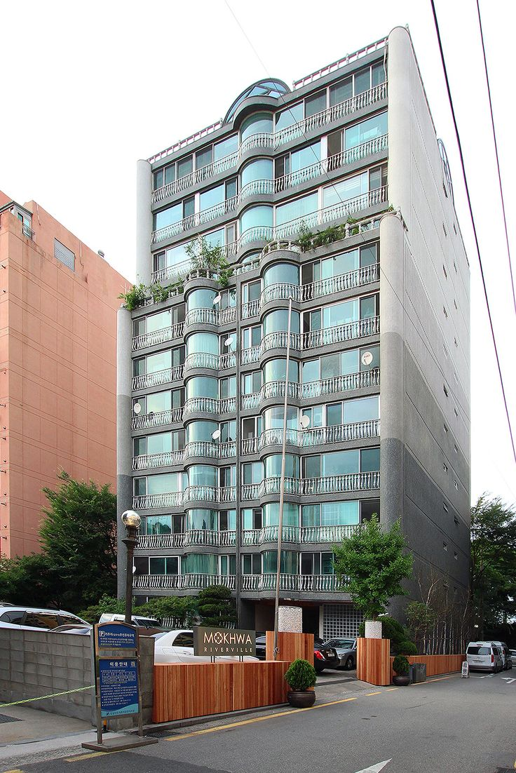 South elevation of the apartment building with the new entrance gate  http://www.hjlstudio.com/chungdam-mokhwa-riverville