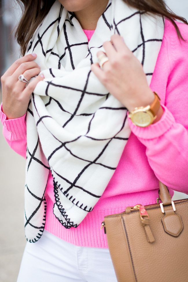 grid blanket scarf, grid scarf, check scarf, black and white scarf, blanket scarf, oversized scarf, asos scarf, sweater, cashmere sweater, hot pink sweater, fuchsia sweater, black vince camuto booties, tory burch robinson pebbled square tote, winter style, winter fashion // grace wainwright from a southern drawl