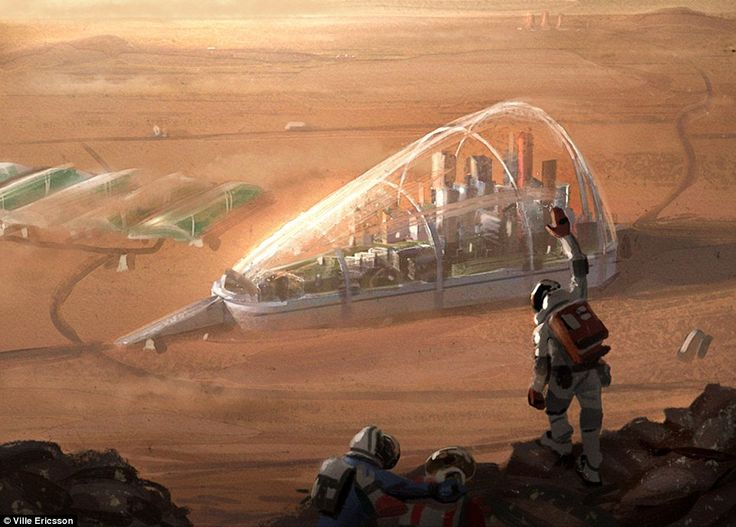 Swedish concept artist Ville Ericsson has revealed his amazing drawings of a futuristic colony on Mars. He envisions a large dome-like structure (shown) being used to house a city on the surface
