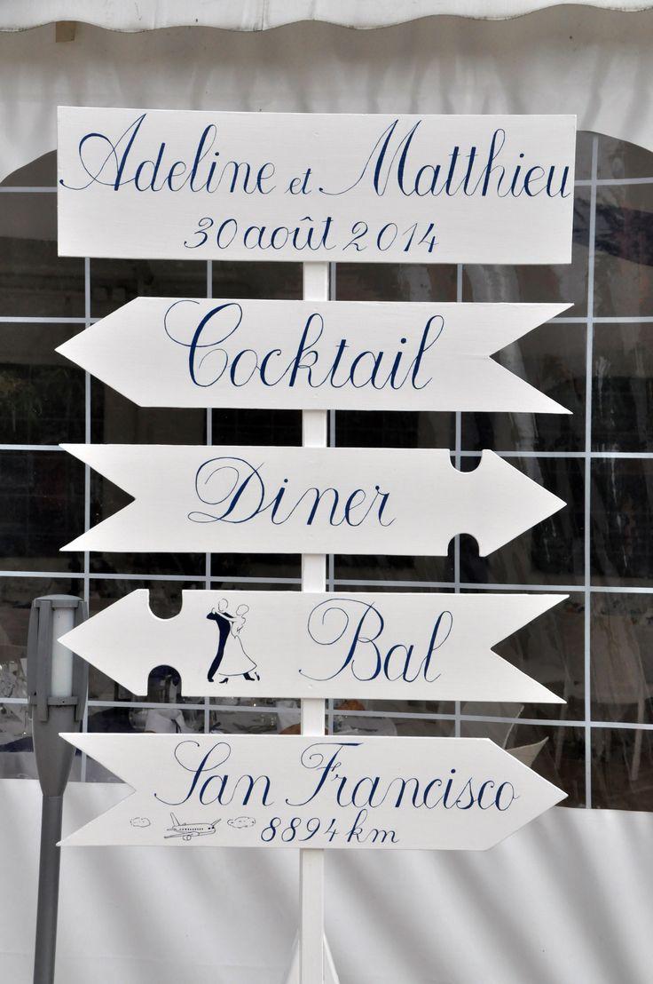 Panneau directionnel, décoration de mariage