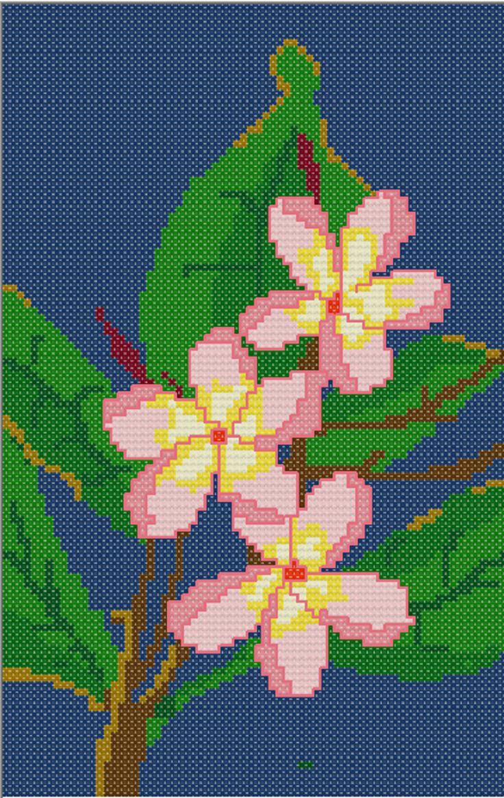 FREE CROSS STITCH PATTERN :Plumeria Blossom in PDF for instant download