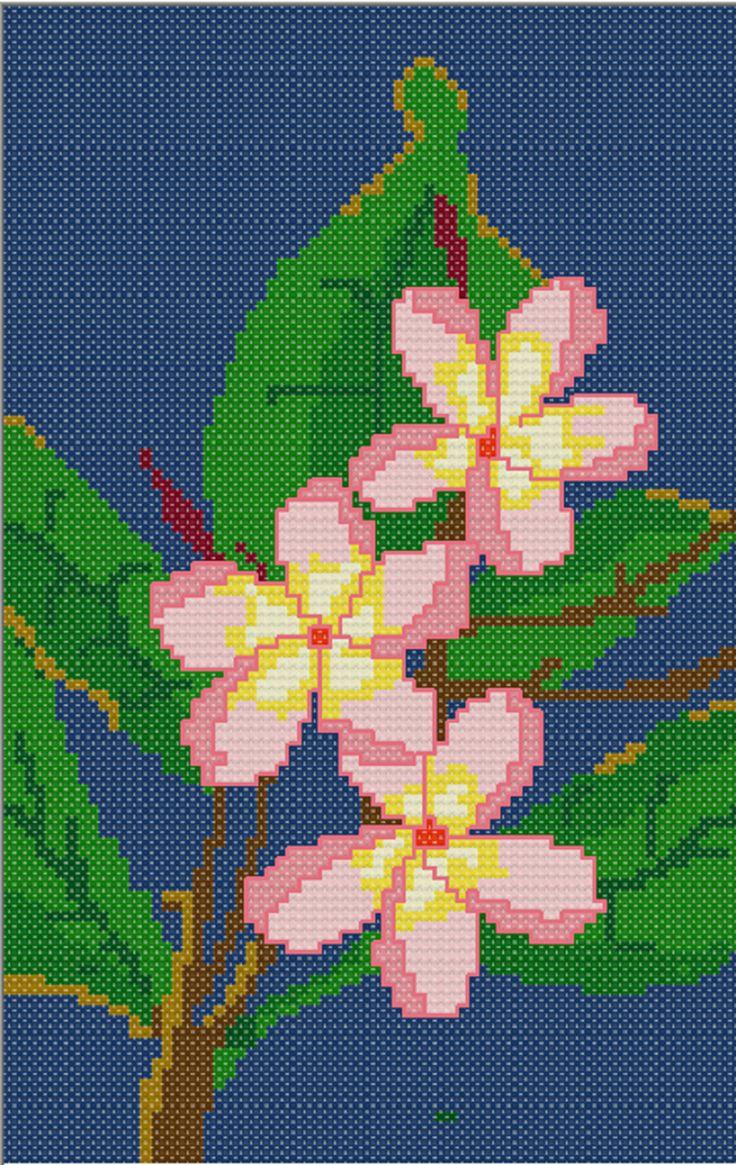 FREE CROSS STITCH PATTERN :Plumeria Blossom in PDF for instant download